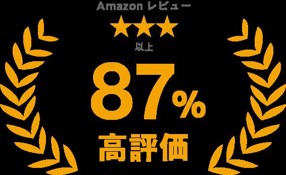 Amazonレビュー星3つ以上 87%高評価
